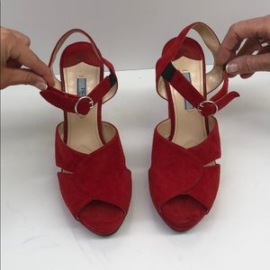 Prada Red Suede Platforms, Size 38